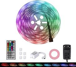 MOZC Ledstrip 5M, IP65 Waterdicht Veelkleurig RGB LED Strip, Gecontroleerd door IR-afstandsbediening, voor Slaapkamer, TV,...