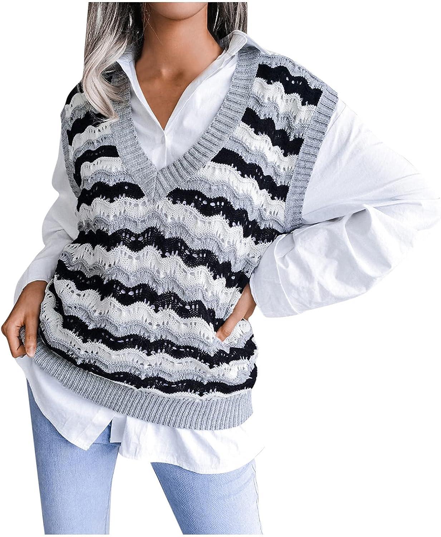Women's Sweater Regular dealer Vest Oversized V Neck Sleeveless Sweaters Max 72% OFF Knitwe