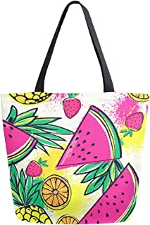 Mnsruu Mnsruu Handtasche aus Segeltuch, für Damen, mit Griff, Einkaufstasche, mit Ananas-Wassermelone, Orange tropische Frucht-Tragetasche, lässige Strandtasche, Multifunktionstasche für Damen