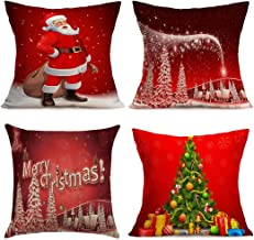 BPFY Christmas Pillow Covers 4 Pack, Print Merry Christmas,Christmas Tree,Santa Claus, Merry Christmas Decorative Sofa Throw Pillow Case Cushion Covers 18 X 18 inch
