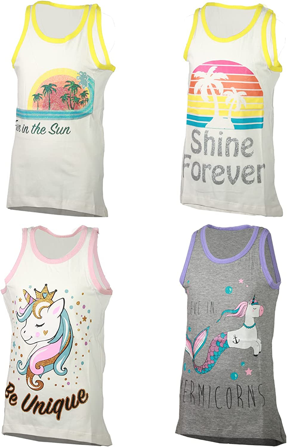 MISS POPULAR Max 58% OFF 4-Pack Girls Sleeveless Summ Designs Tops Cute Limited time trial price Tank