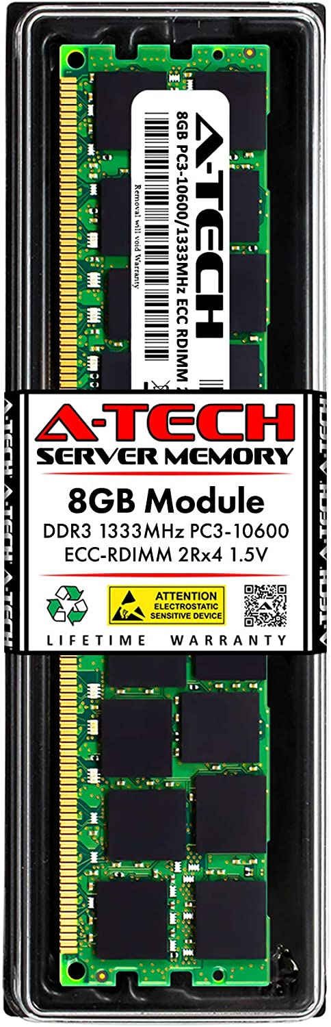 A-Tech 8GB Memory RAM for Dell PowerEdge T410 - DDR3 1333MHz PC3-10600 ECC Registered RDIMM 2Rx4 1.5V - Single Server Upgrade Module (Replacement for SNPP9RN2C/8G)