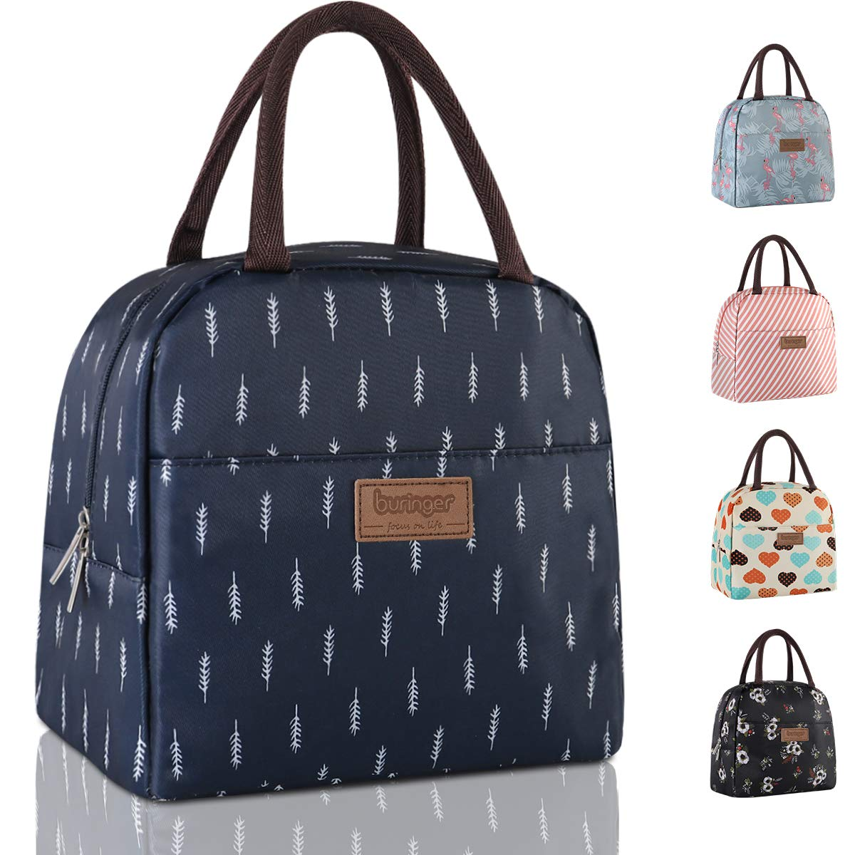 Buringer Insulated Lunch Bag Cooler Tote with Front Pocket Zipper Closure for Woman Man Work Picnic or Travel (Dark Blue Large Size)