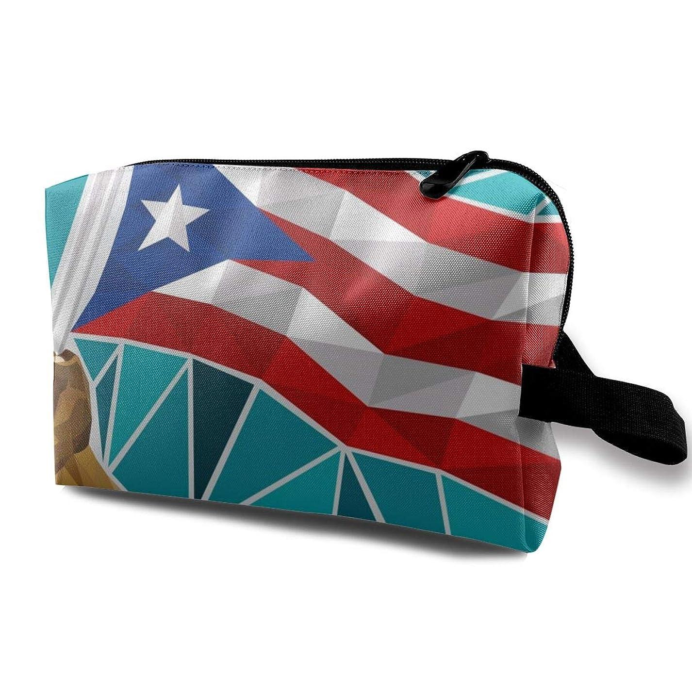 アノイ好色な傑出したMaxpowerful プエルトリコの旗 化粧ポーチ コスメポーチ 大容量 おしゃれ 化粧品収納 防水 機能的 メイクポーチ 旅行 仕切り 高級感 小物入れ