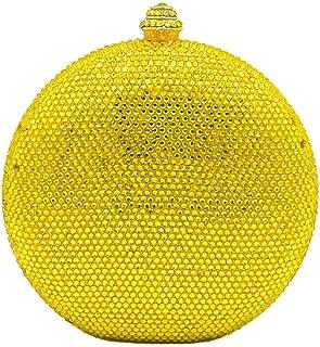 MDSQ Flagon-shaped Clutch Creative Fashion Round Diamond Evening Bag Lady Girl Chain Shoulder Wedding Party Gift Bag 15 * 13 * 6cm Fashion personality (Color : Yellow)