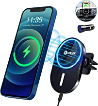 WAITIEE Magnetic Wireless Car Charger Compatible with iPhone 12/12 Pro/ 12 Pro Max/ 12 Mini with QC3.0 Adapter 15W/ 10W/ 7...