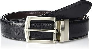 Black/Brown Leather 35-Millimeter Reversible Single-Stitch-Edge Belt
