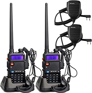 Retevis RT-5R 2 Way Radio 128CH UHF/VHF Long Range Walkie Talkies for Adults Two-Way Radios with Speaker Headset and Microphone (2 Pack)