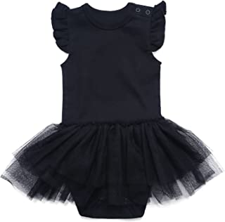 Baby Girls Solid Little Black Dress Bodysuit 0-24 Months