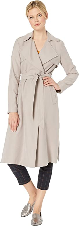 5b46de4972ca TWO by Vince Camuto Long Cinch Waist Snap Front Hooded Coat at ...