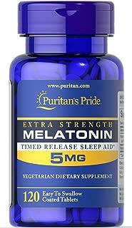 Puritans Pride Melatonin 5 mg Timed Release, 120 Count