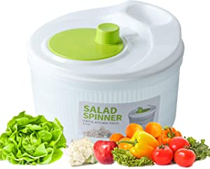 Salad Spinner Vegetable Washer 3.5Quarts Large Capacity, Fruits and Vegetables Dryer,Quick Dry Design BPA Free .Dry Off & Drain Lettuce and Vegetable with Ease for Tastier Salads and Faster Food Prep