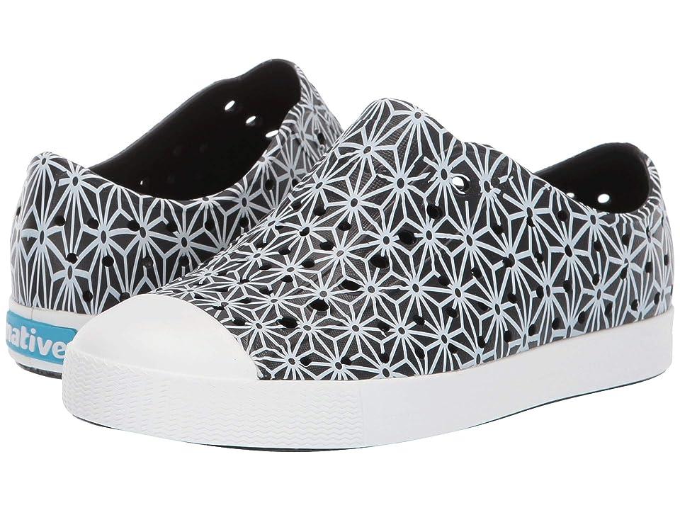 Native Kids Shoes Jefferson Print (Little Kid) (Jiffy Black/Shell White/Asanoha) Kids Shoes