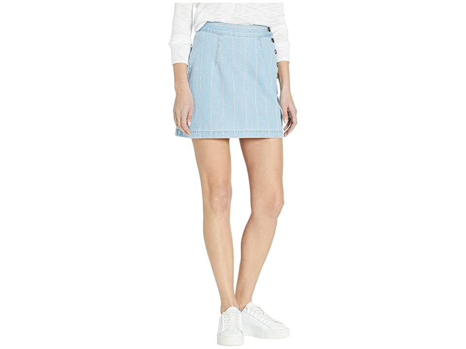 Juicy Couture Denim Pinstripe Skirt (Blue Chill Washed) Women