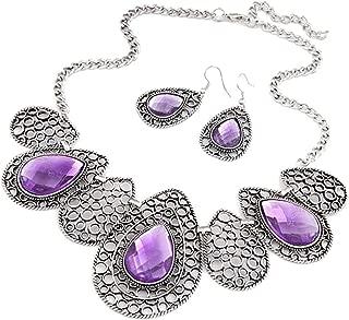 AnVei-Nao Womens Luxury Drop Pattern Pendant Bib Necklace Hook Earring Jewelry Set