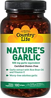 Country Life Nature's Garlic, 500 mg, 180-Count
