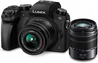 PANASONIC Lumix G7 4K Digital Mirrorless Camera Bundle with Lumix G Vario 14-42mm and 45-150mm Lenses, 16MP, 3-Inch Touch LCD, DMC-G7WK (USA Black)