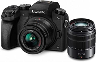 PANASONIC Lumix G7 4K Digital Mirrorless Camera Bundle with Lumix G Vario 14-42mm and 45-150mm Lenses, 16MP, 3-Inch Touch ...