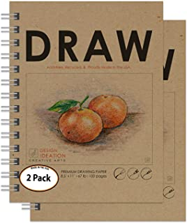 "Design Ideation Drawing Book. Heavy Paper Book Style Drawing pad for Pencil, Ink, Marker, Charcoal and Watercolor Paints. Great for Art, Design and Education. 8.5"" x 11"" (2)"