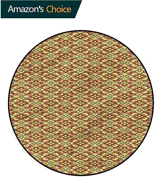 RUGSMAT Geometric Area Rugs Traditional Design Kaleidoscopic Palette Door Mat Indoors Bathroom Mats Non Slip Diameter 47