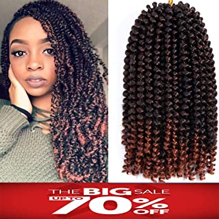 Spring Twist Hair 3 Packs Crochet Braids Bomb Twist Crochet Hair Ombre Colors Synthetic Fluffy Hair Extension 8inch 110g(T1B 350)