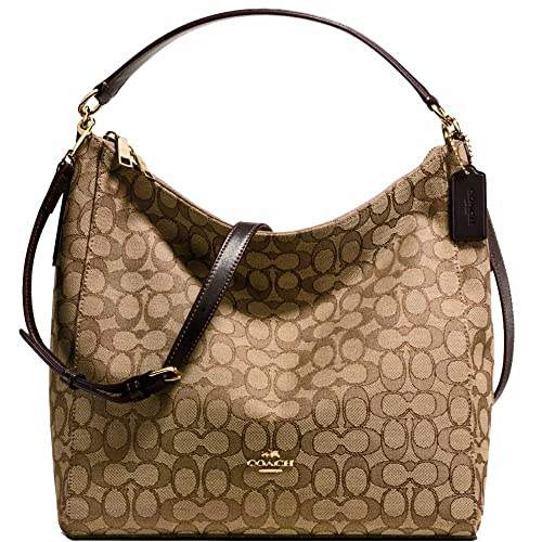 343be903e0aeb8 New Authentic COACH Monogram Elegant Khaki Brown Leather Trim Shoulder Bag  Crossbody