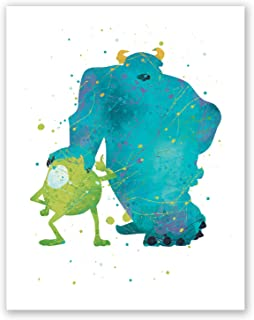 PGbureau Monsters Inc Poster – Sully and Mike Wazowski Wall Art Print – Party Birthday Decoration – Watercolor Artwork Illustration – Kids Room Nursery Home Decor (8x10)