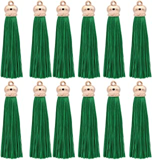 Winrase 80mm Polyester Soft Tassel Ice Silk Tassel End Stopper Pendant Connectors with Gold Tassels Cap for DIY Jewelry Accessories Making / Earring / Curtain / Handbag Pendant,12pcs (Green)