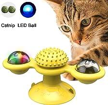 PETTOM Windmill Cat Toys Juguete Interactivo para Gatos de Burlas Giratorias para Gatos Cepillo de Pelo para Gatos Rascador de Cosquillas Juguete para Gatos, Amarillo