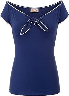 Belle Poque Women's V-Neck Short Sleeve Off Shoulder Retro Vintage Sexy Tops