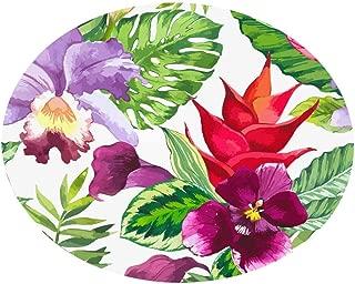 CANAFA Area Rug Tropical Plant Leaves Pattern Round Flannel Bathroom Kitchen Carpet 100cm