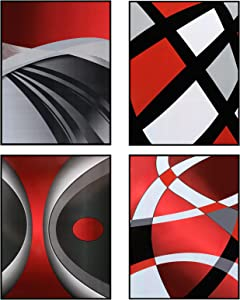 4 Pieces Red Stripes Poster Prints Unframed Abstract Wall Art Modern Abstract Wall Art Abstract Art Prints Black Silver Red Art Posters for Wall Home Decoration, 8 x 10 Inch