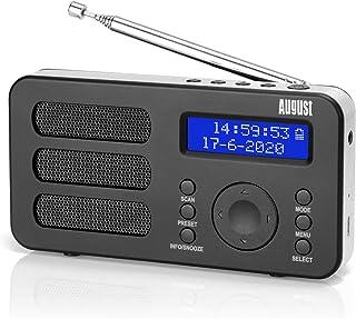 Portable DAB Radio - August MB225 - DAB/DAB +/FM - RDS Function, 40 Presets, Stereo/Mono Portable Digital Radio, Dual Alar...