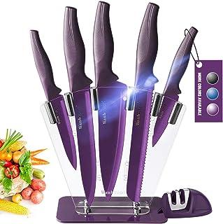 Wanbasion Violet Bloc de Couteaux de Cuisine avec Support Acrylique, Set de Couteaux Cuisine en Acier Inoxydable, Couteau ...