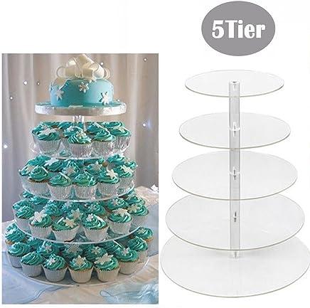Preisvergleich für mymotto Tortenständer Runde Kuchen Hochzeitstorte Runde Kuchenständer Kuchen Gestell Hochzeitstorte Geburtstag Feier Party 3 /5/6/7stöckig Kuchen Ständer (5 Etage)