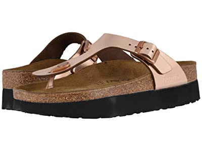 Birkenstock Gizeh Platform by Papillio (Metallic Copper Leather) Women