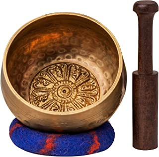 Tibetan Singing Bowl Set with Healing Mantra Engravings — Meditation Sound Bowl Handcrafted in Nepal