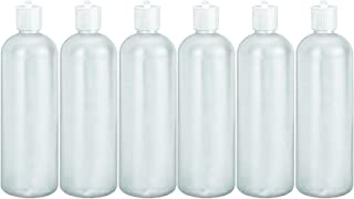 MoYo Natural Labs 32 oz Refillable Squirt Bottles, Empty Travel Containers with Turret Caps, One Quart Travel Bottles, BPA Free HDPE Plastic Squeezable Toiletry/Cosmetics Bottle (Pack of 6, White)