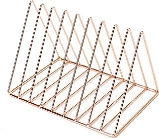 GoldOrcle Triangle File Holder Metal Wire Metal Magazine Rack File Organizer Desk Organizer, 9 Slot Magazine File Holder for Office Home Decor, Rose Gold