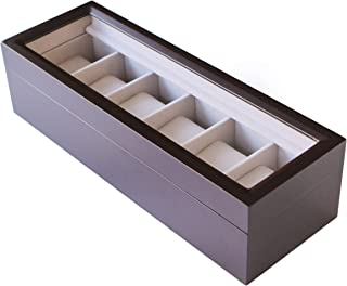Solid Wood Watch Box Organizer with Glass Display Top by caseElegance