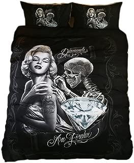 KTLRR 3D Marilyn Monroe and Skull Bedding Sets,Monroe Diamonds are Forever, Polyester Soft Luxury Duvet Cover Sets 3pcs No Comforter,Twin Full Queen King Size Bedding (Eternal Beauty, King 3pcs)