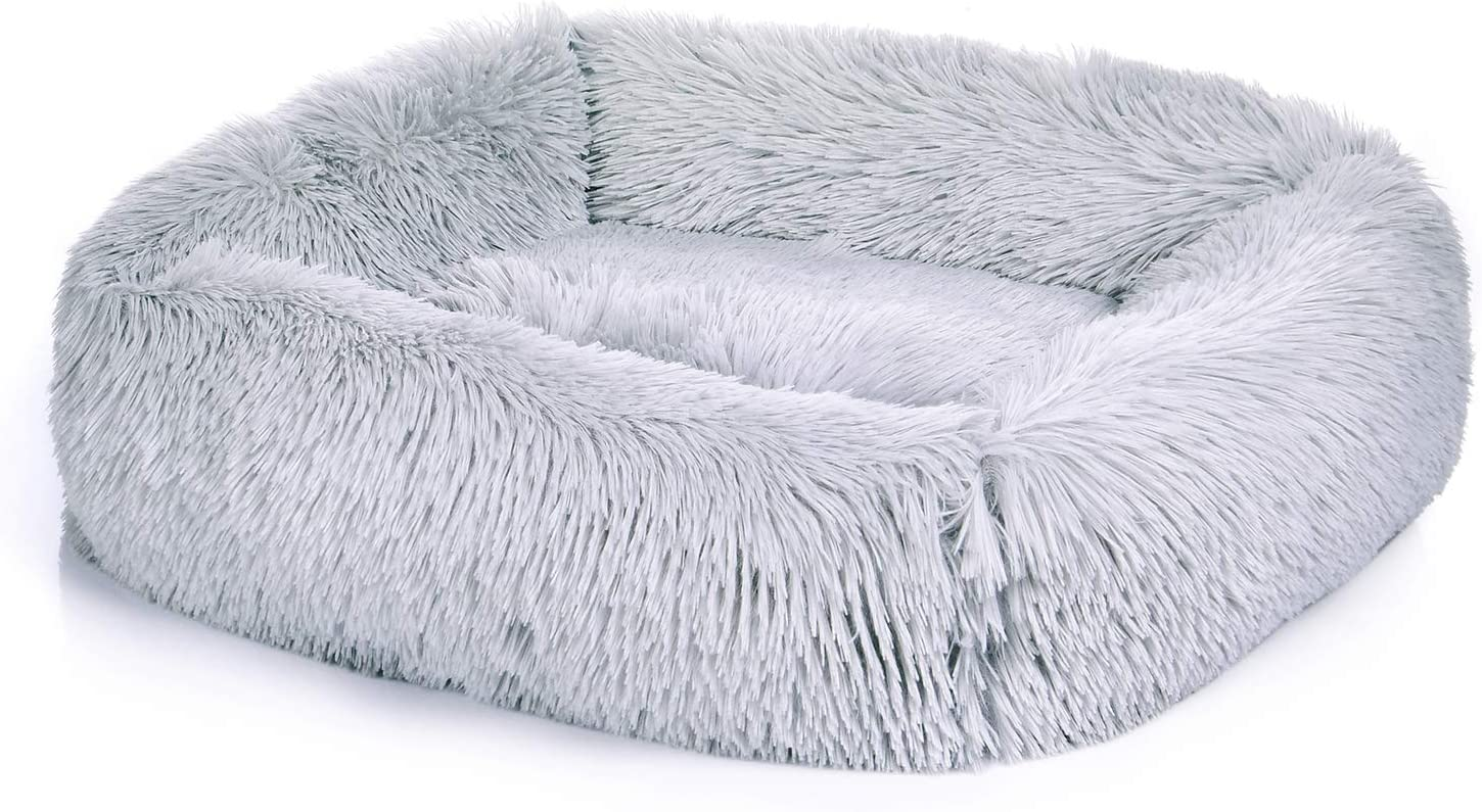 ZHEBU Outlet SALE Fluffy Store Calming Dog Bed Anti-Anxiety Washa Fur Faux