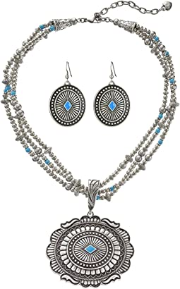 Triple Strand Oval Concho Necklace/Earrings Set