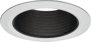 HALO Recessed 5109BB Plastic Tapered Coilex Baffle White Self-Flange Ring, 5 In, Black