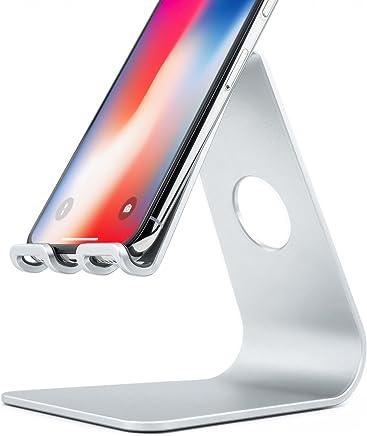 Rampow Support Téléphone/Smartphone en Aluminium - Support iPhone Bureau - Support Téléphone Bureau pour iPhone X / 8/7 / 6/5 / 7 Plus / 6 Plus, iPad, Kindle, Samsung, Huawei et Plus - Argent