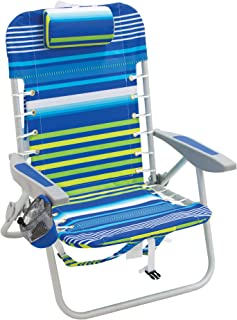 "Rio Brands Beach 4-PRio Beach 4-Position Backpack Lace-Up Suspension Folding Beach Chair - Blue/Green Stripe, 24"" x 24.75""..."