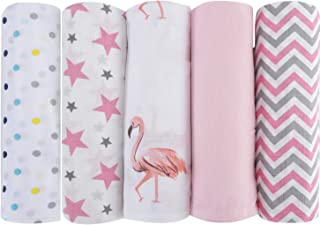haus and kinder 100% Cotton Muslin Swaddle Wrap for New Born Baby (Pack of 5) (Pink)