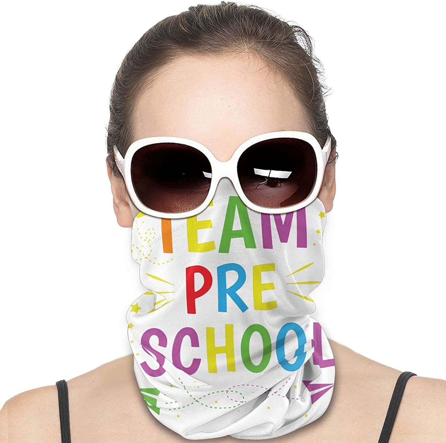 Team Pre School Round Neck Gaiter Bandnas Face Cover Uv Protection Prevent bask in Ice Scarf Headbands Perfect for Motorcycle Cycling Running Festival Raves Outdoors