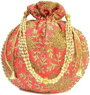 Ekavya Indische ethnische Designer bestickte Seide Potli Tasche Batwa Perlen Griff Geldbörse Clutch für Frauen, Jaipuriya0...