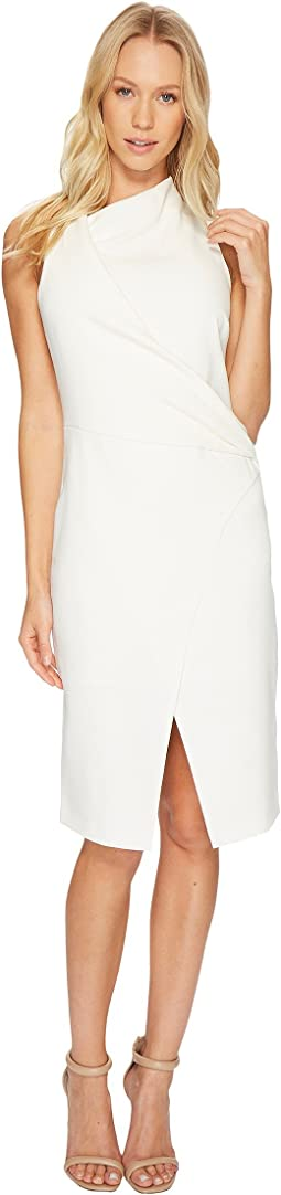 Sleeveless Mock Neck Draped Front Dress